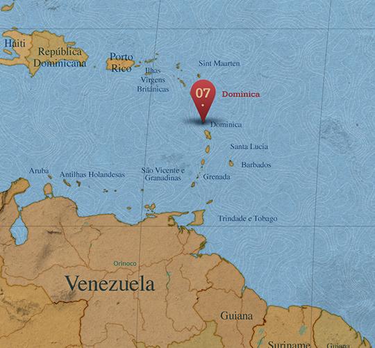 Mapa da área de Dominica