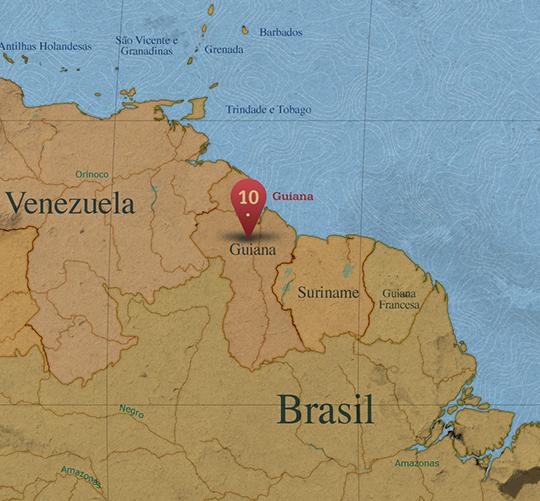 Mapa da área de Guiana