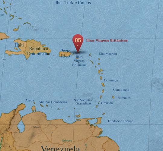 Mapa da área de Ilhas Virgens Britânicas
