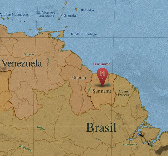 Mapa da área de Suriname